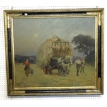 Lot 012 - Signed 'Swaish', a large oil on canvas dated 1923, 'Hay Harvesting', 95cm x 108cm.