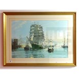 Lot 027 - After Montague Dawson, open print, large marine scene 'Sailing Ships', 50cm x 77cm.