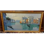 Lot 053 - Jacopo Grimani, (Italian 20th century) signed oil on canvas 'Venice Canal', 61cm x 123cm.