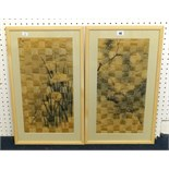 Lot 046 - A pair of Chinese silk work pictures of interwoven design depicting birds, 49cm x 24cm.