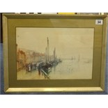 Lot 34 - Frank Rousse (British fl1897-1917) watercolour, 'Harbour Scene', 23cm x 33cm.