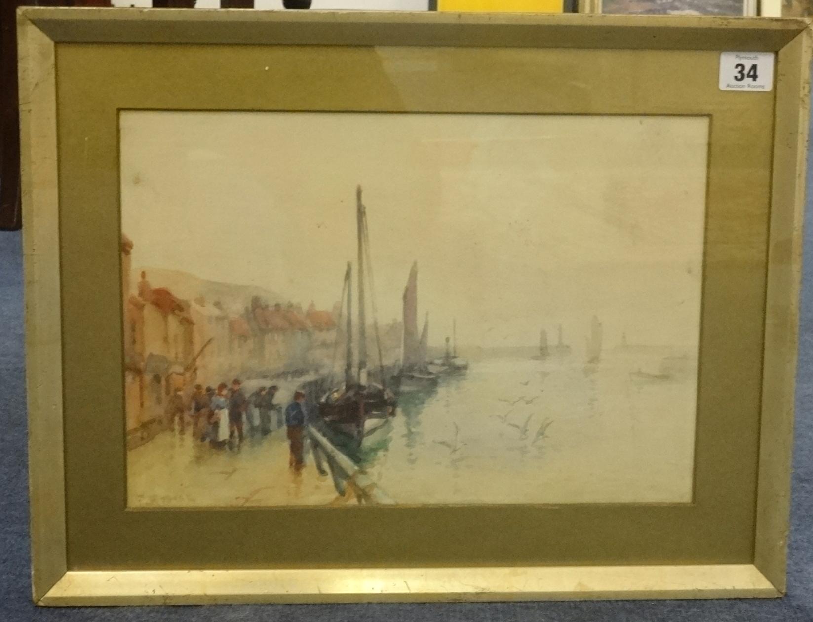 Lot 34 - Frank Rousse (British fl1897-1917) watercolour, 'Harbour Scene', 23cm x 33cm.