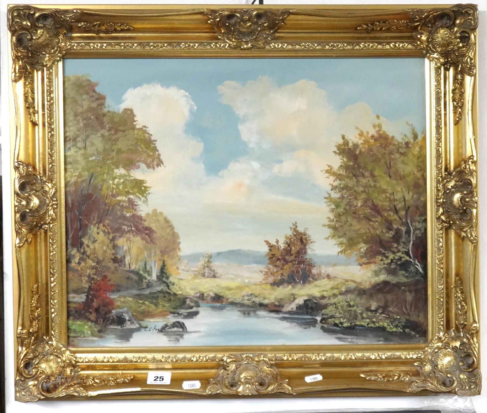 Lot 025 - A signed 20th century oil on canvas, river landscape in ornate gilt frame, 40cm x 52cm.