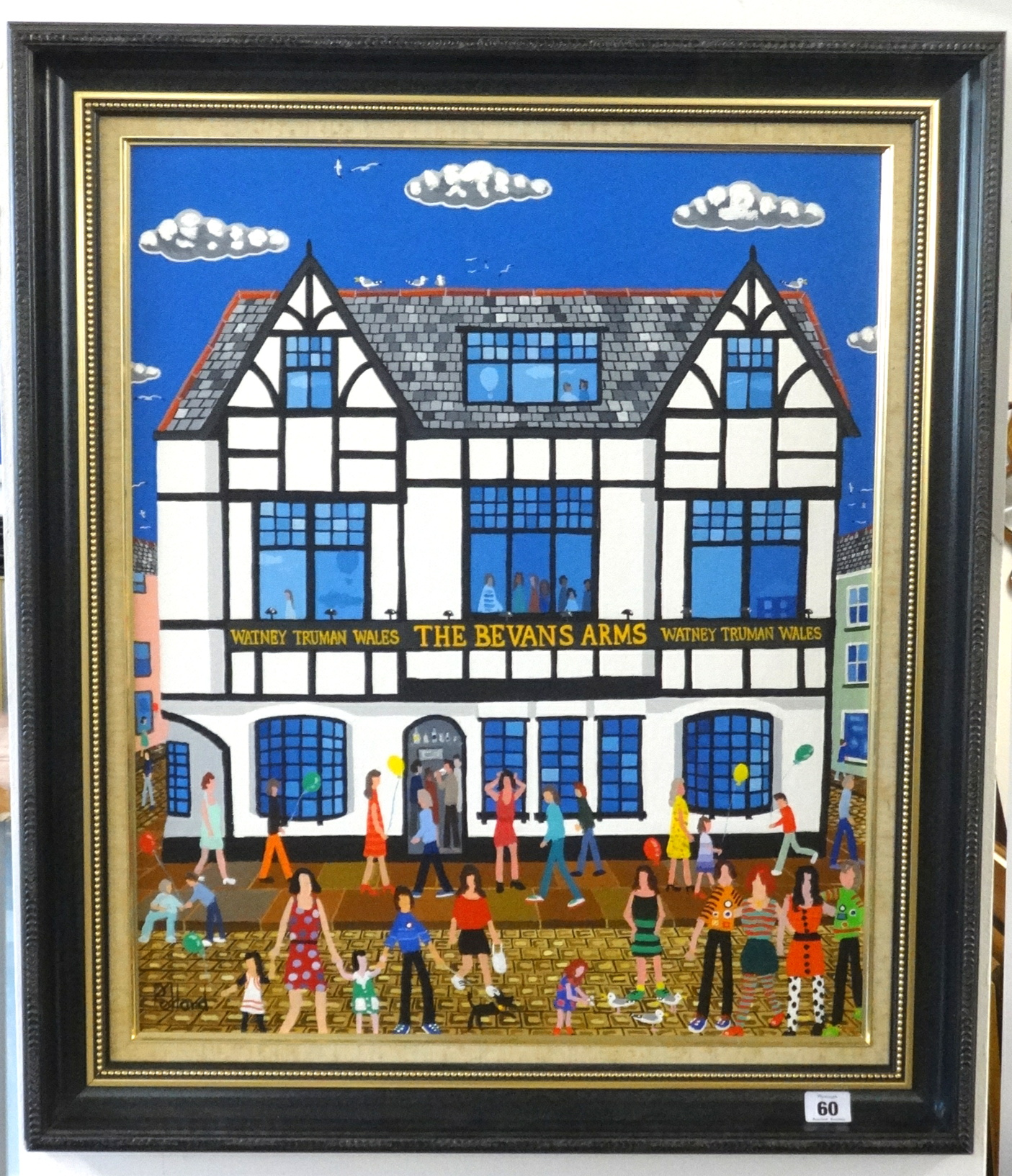 Lot 060 - Brian Pollard, acrylic on board signed, 'Bevans Arms, Swansea, 60cm x 50cm.