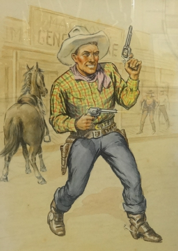 Lot 2 - George Cattermole (20th century) a cowboy, watercolour (possibly pseudonym George McCaul, a book