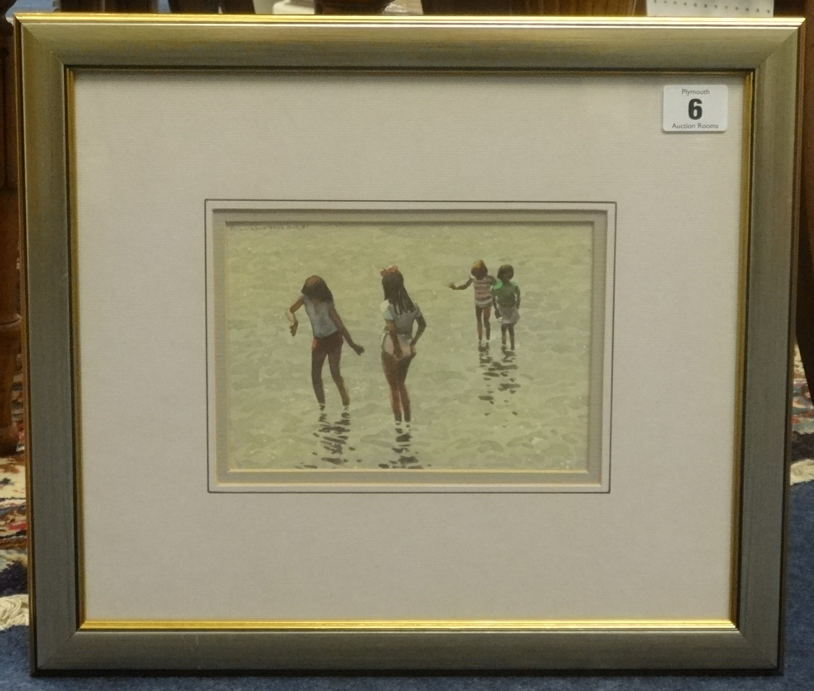 Lot 6 - R.Littleford, FRSA two signed watercolours of groups of girls in the sea, 1987, the largest 17cm