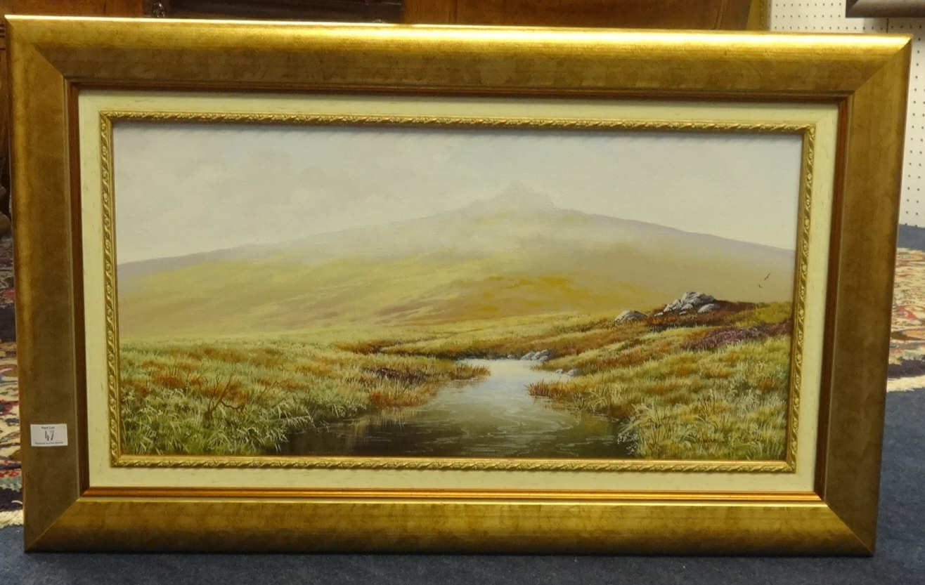 Lot 47 - Brian.D.Horswell, a pair of signed oil on canvas Dartmoor scenes, 25cm x 50cm.