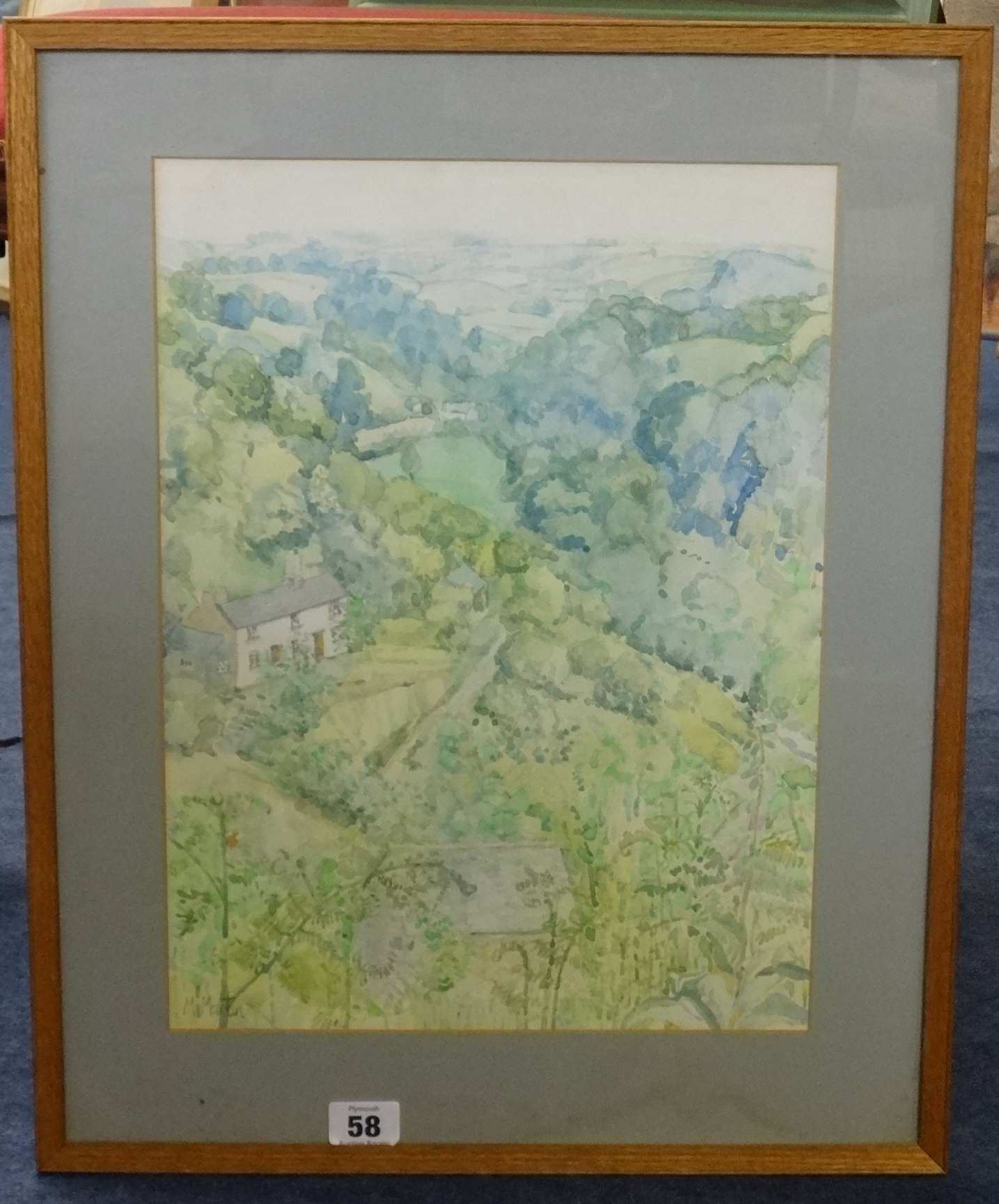Lot 58 - Mary Martin (born 1951), signed watercolour 'View across the Valley', 38cm x 27cm.