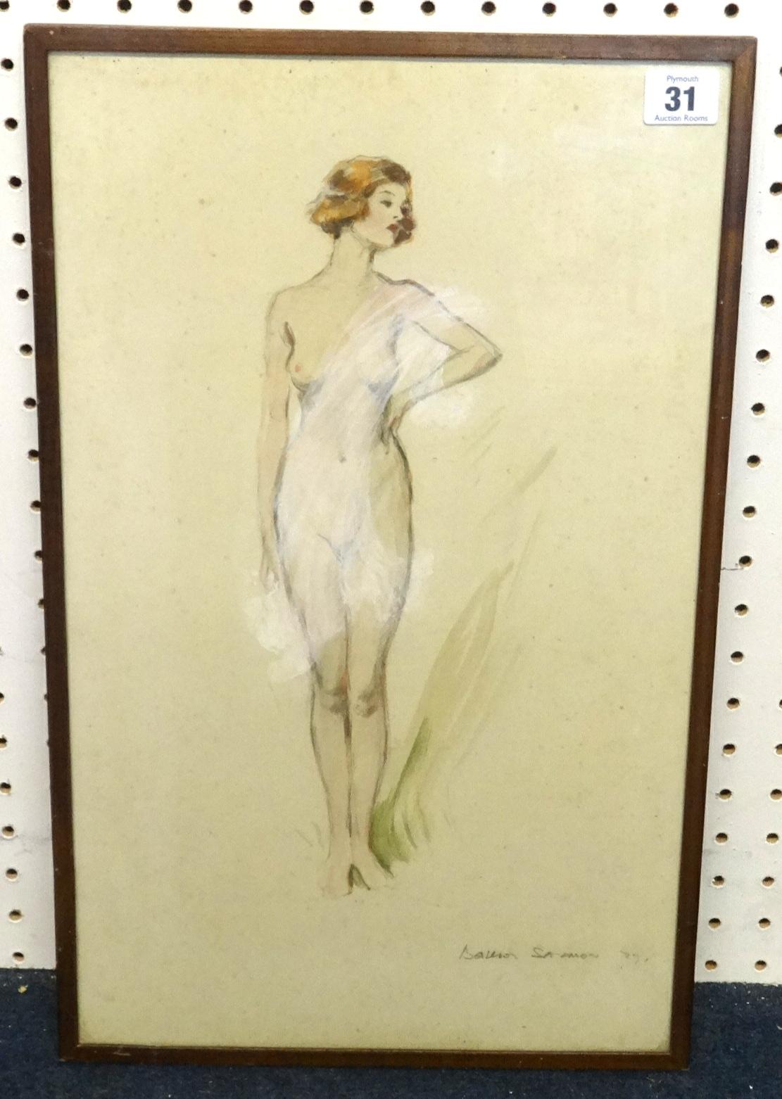 Lot 31 - M.Balliol Salmon (1868-1953) sketch, gouache, Nude Study, 48cm x 30cm.