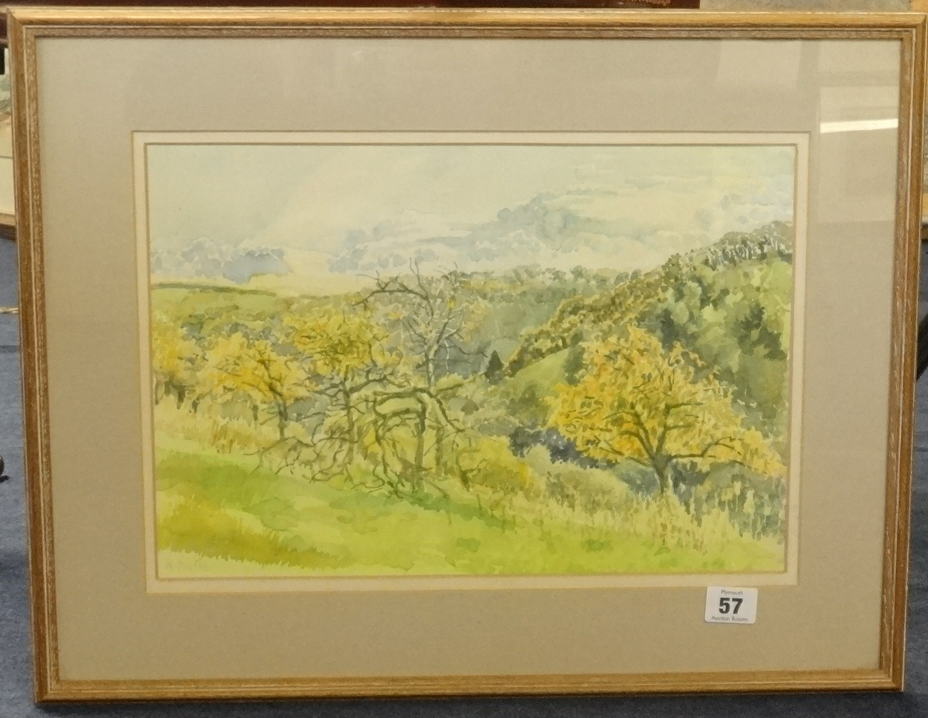 Lot 57 - Mary Martin (born 1951) signed watercolour, 'Tree Landscape', 25cm x 37cm.