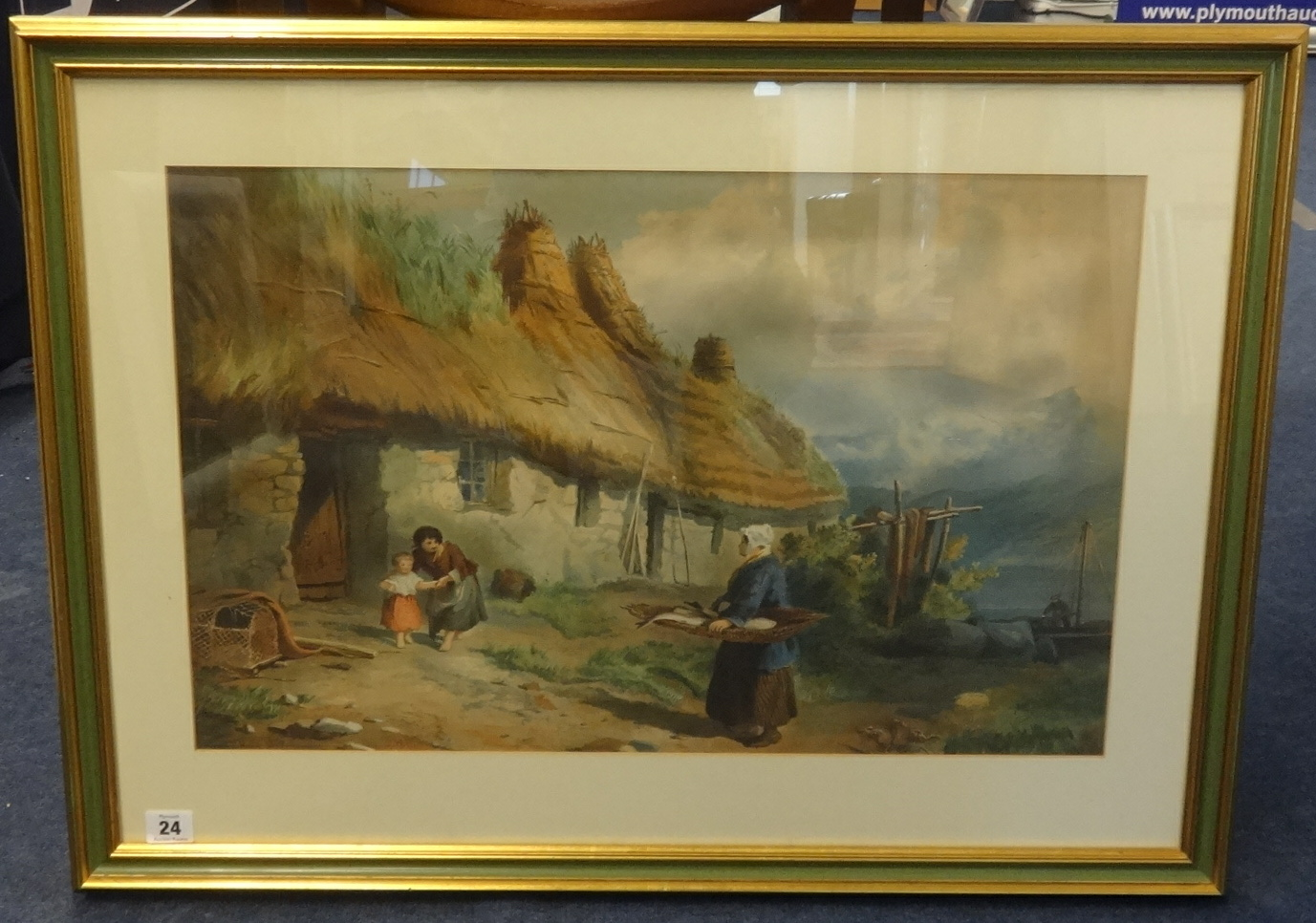 Lot 024 - T.H.Mole, Victorian watercolour, signed and dated 1855,'Lady with fish before a thatched cottage',