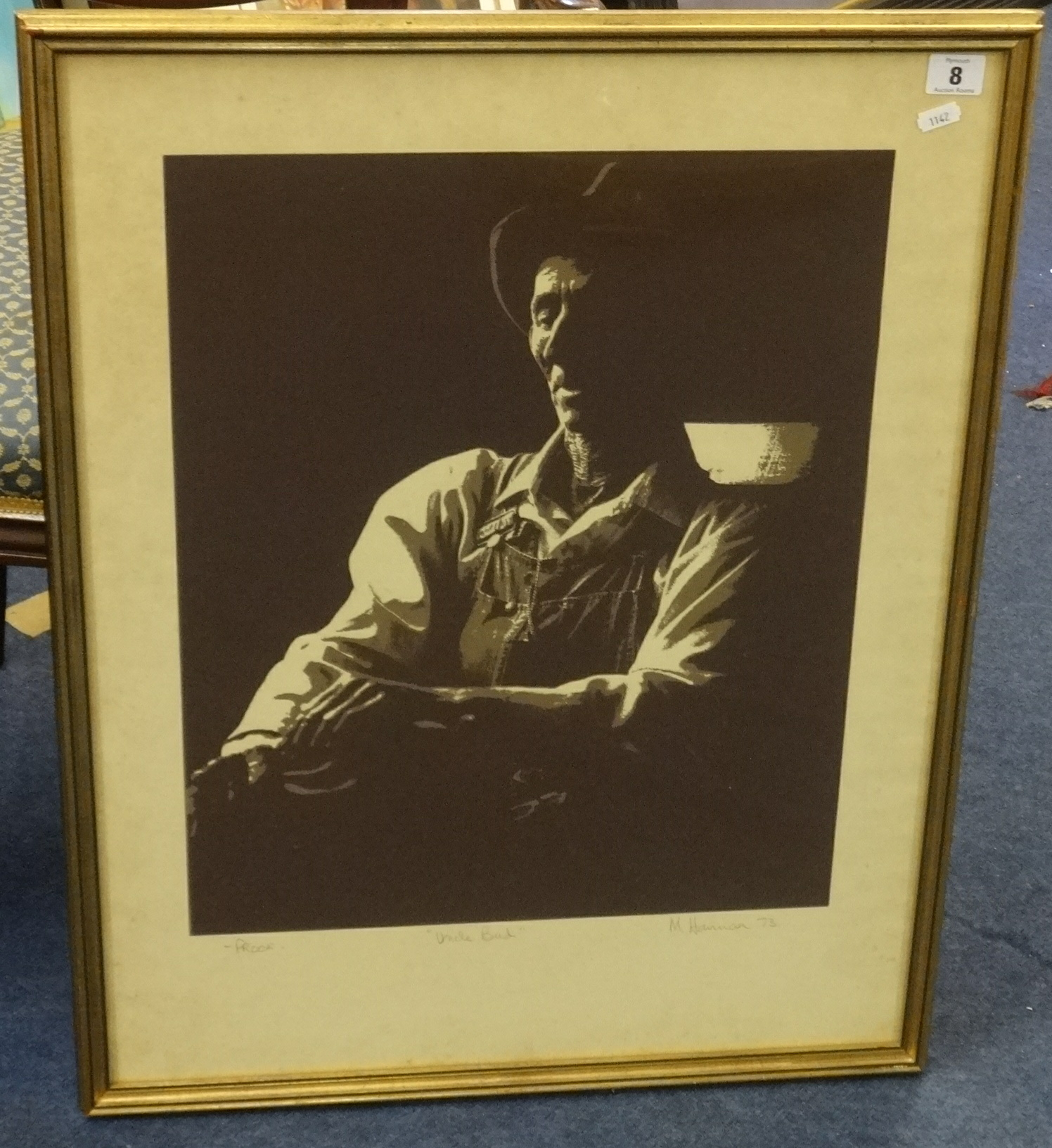 Lot 8 - Michael Hannan, 'Uncle Bud', Artist's proof 1973 with extensive biography on back, 49cm x 39cm.