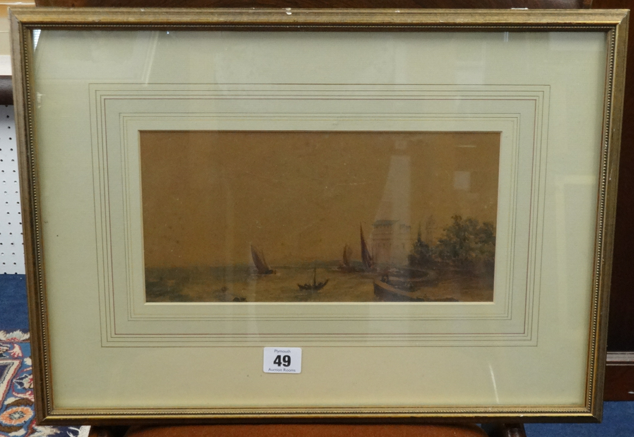 Lot 049 - Samuel Davis (1757-1809), watercolour 'Possibly Chennai Harbour, Madras', 15cm x 28cm.