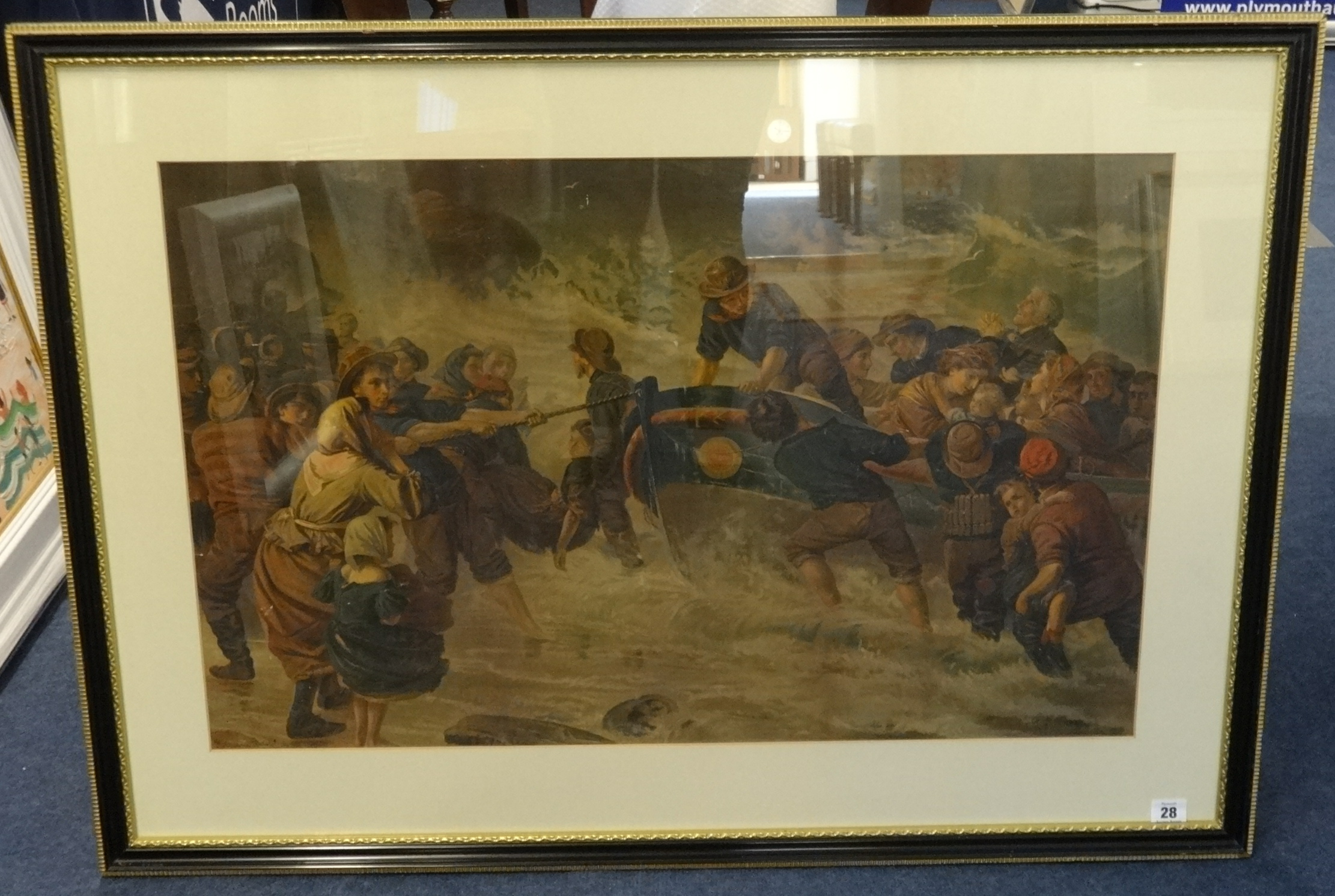 Lot 028 - G.Hook? A pair of 19th Century prints of dramatic sea rescues, overall size 72cm x 100cm.