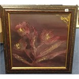 Lot 286 - Janet Rogers, Mixed Media, 'Burgundy Tulips', 55cm x 55cm.
