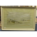 Lot 26 - Signed watercolour McCarther?, boats on the beach, 34cm x 80cm.