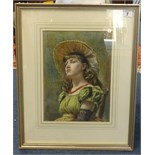Lot 007 - James Shaw Crompton R.I. (1853 - 1916) 'Young Girl 1886/7', watercolour, signed and dated, 32cm x