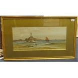 Lot 37 - Horace Chambers, watercolour, signed, 'Lighthouse', 23cm x 53cm.