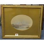 Lot 29 - Pair of late 19th/early 20th Century oval watercolours not signed, river views possibly The Thames