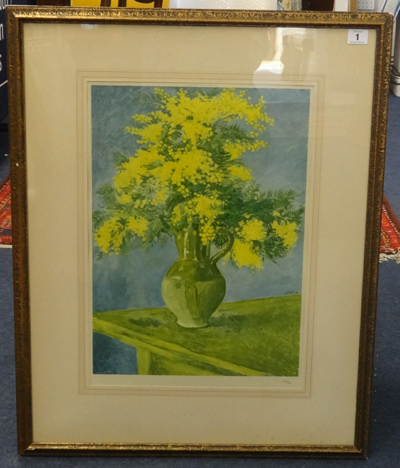 Lot 001 - A signed coloured print after Augustus John, 'Still life with jug of mimosa', signed in pencil