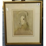 Lot 3 - H.S Hopwood, (Henry Silkstone Hopwood 1860-1914) sketch, 'A Passage to Tunis 1906' 27cm x 21cm.