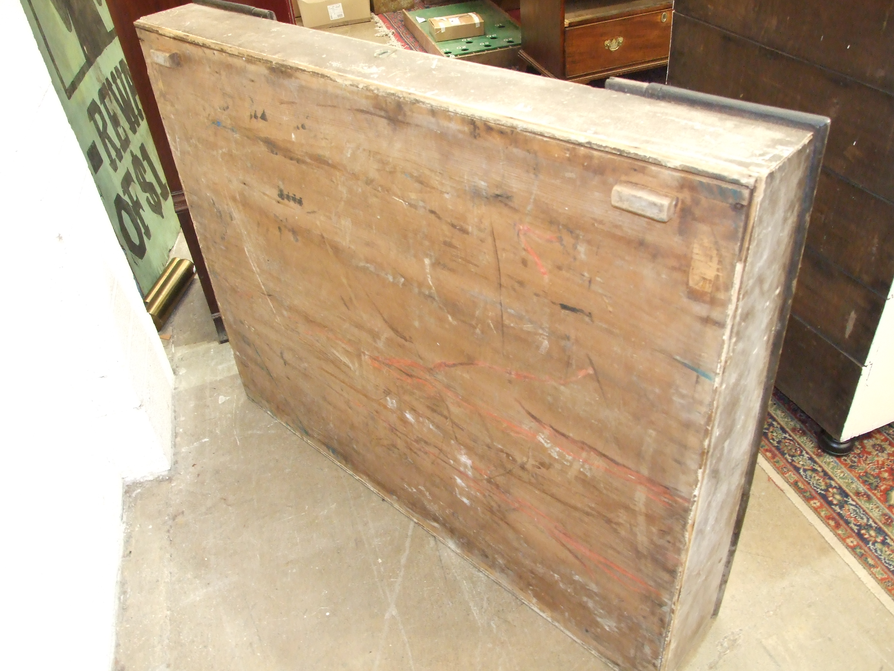 A 19th century grained wood and oak desk top, the slightly-sloped top with central hinged flap, - Image 3 of 5