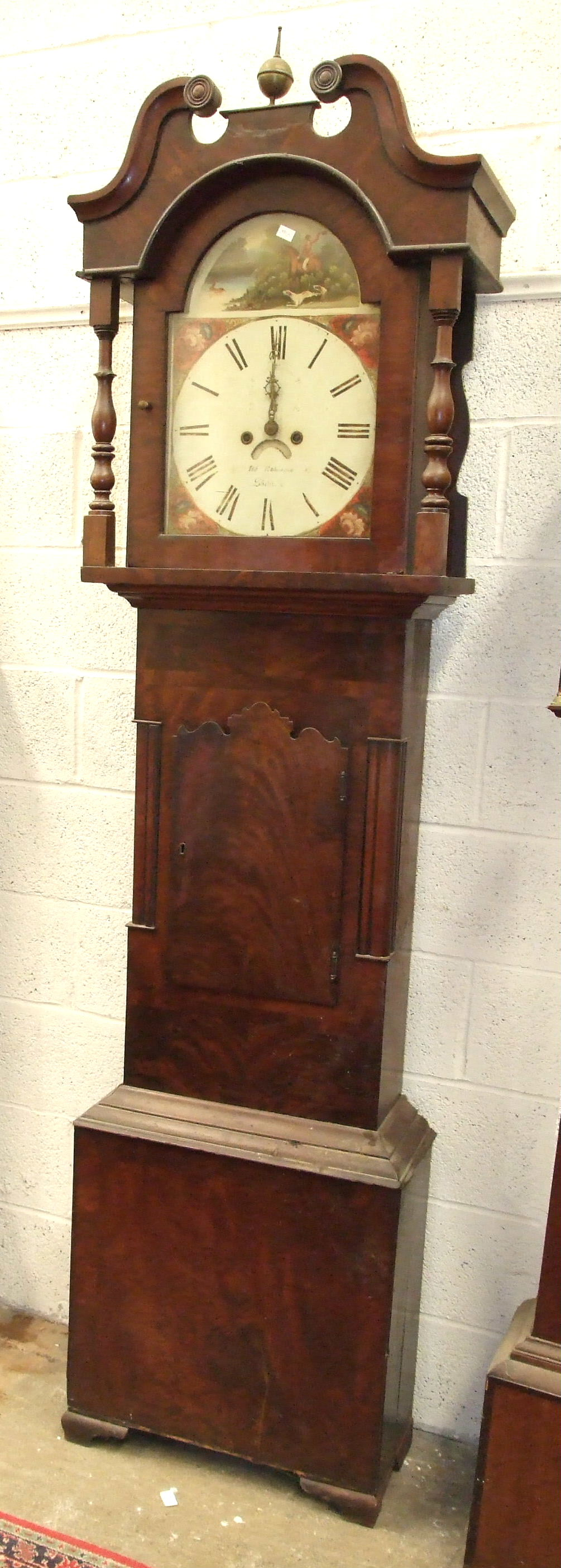 A 19th century mahogany North Country long case clock, the arched dial painted with stag hunting