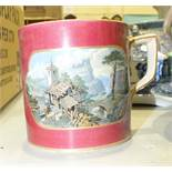 An I & R Pratt & Co. transfer-printed mug, a Copeland Italian pattern cheese dish and cover and