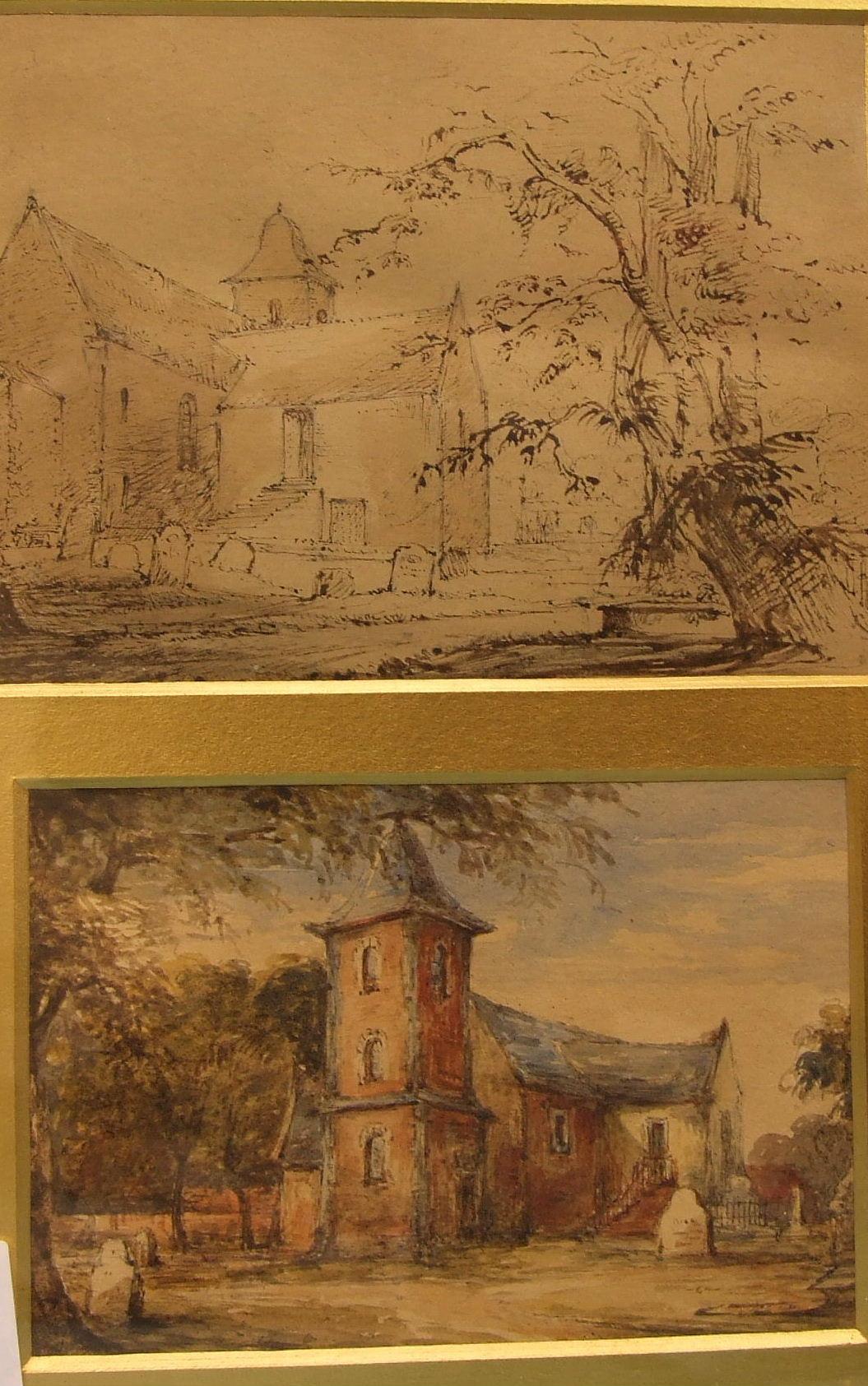 Lot 235 - 19th century English School, 'North Berwick Parish Church', pen and ink drawing, 10 x 13cm,