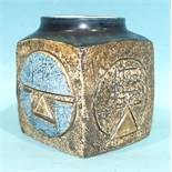 A Troika square vase by Sue Lowe, 1976-77, signed 'SL', 9cm high.
