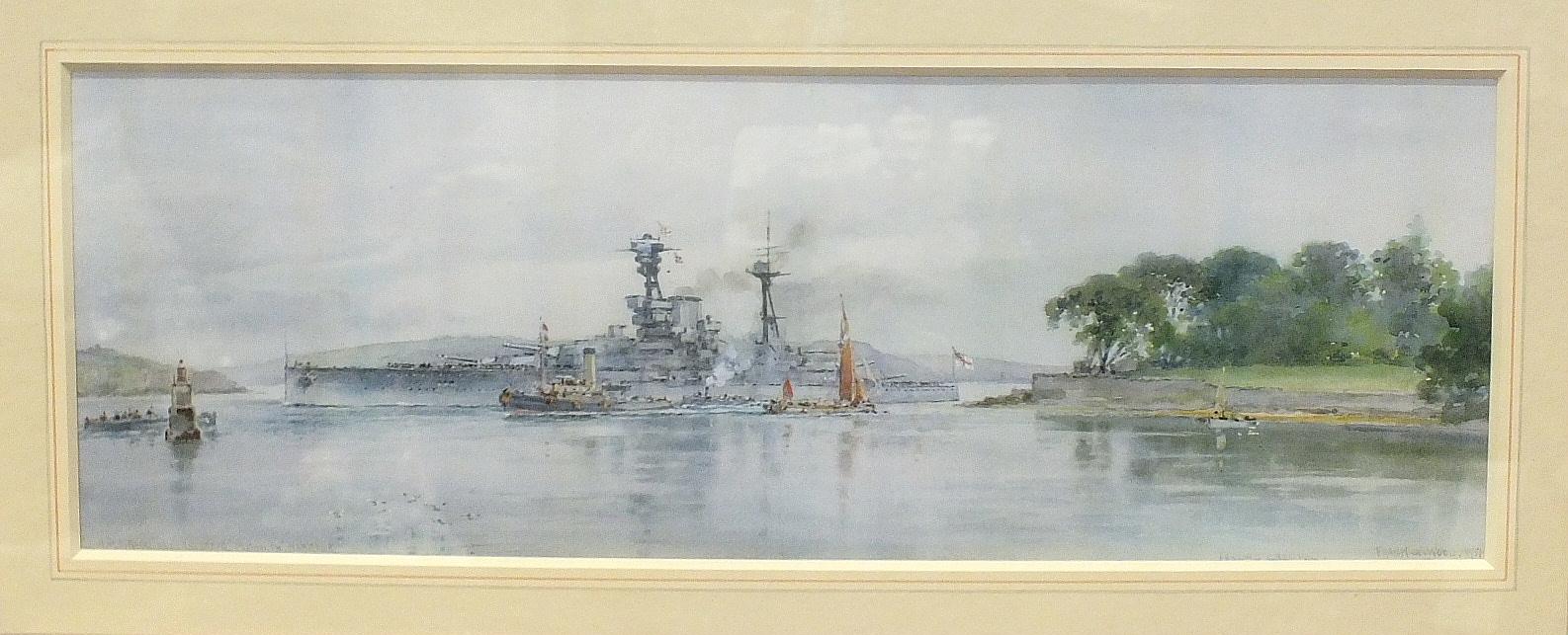 After Frank W Wood, 'HMS Royal Oak Entering Plymouth Harbour', a coloured print, 14 x 41cm.