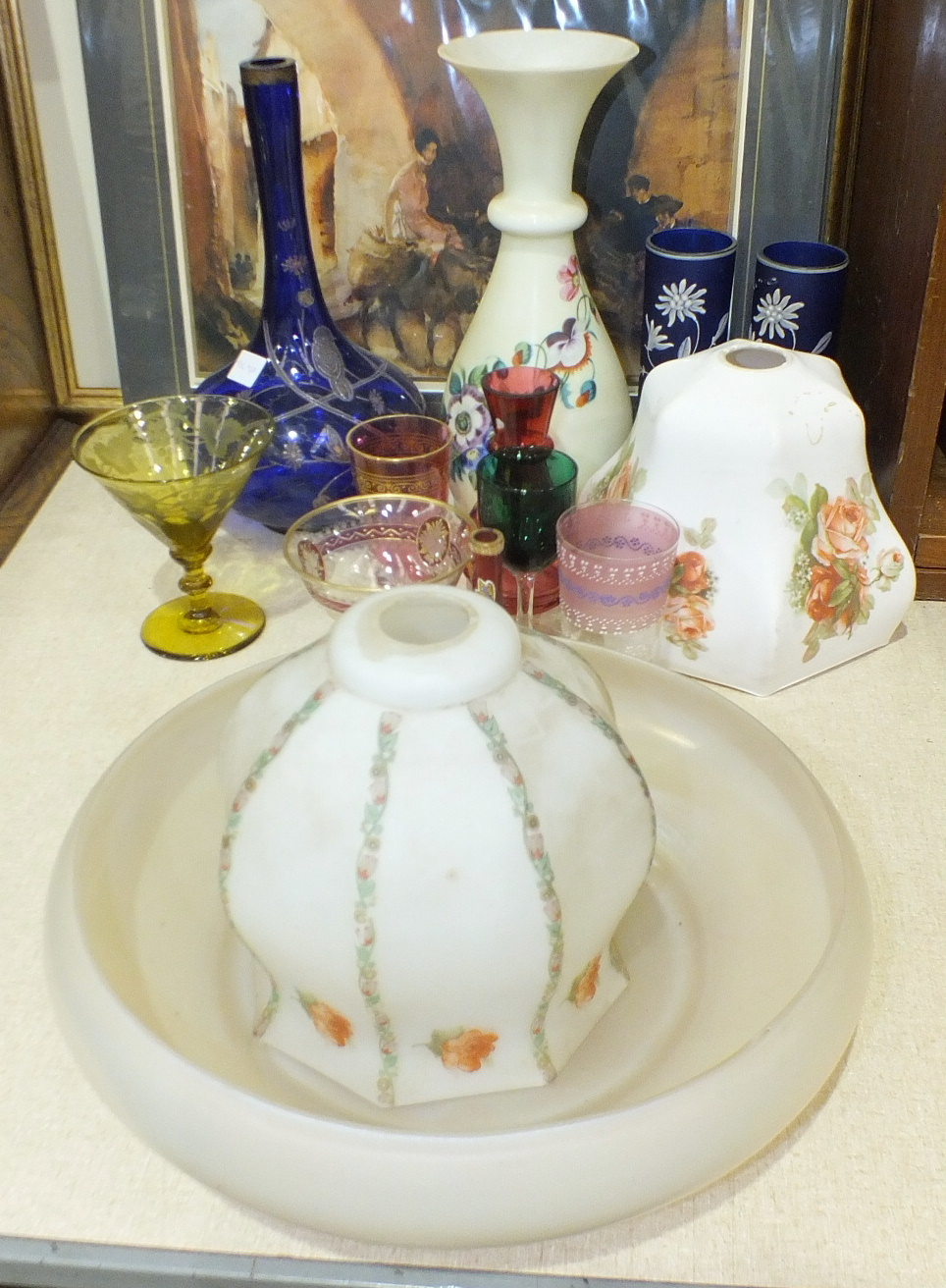Lot 45 - Two transfer-printed glass lamp shades and various Victorian coloured and later glassware.