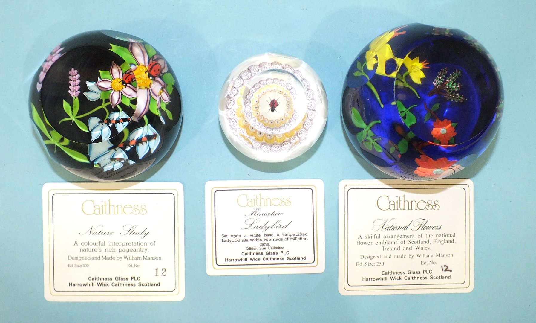 Lot 242 - Two limited-edition Caithness glass paperweights, 'Nature Study' 12/200 and 'National Flowers' 12/
