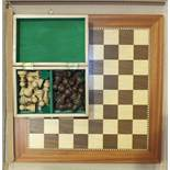 A modern Staunton-style chess set in box and a modern inlaid wooden chess board, 48.5cm square.