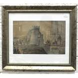 J C Bonfield, 'Knights and Soldiers Entering a Castle', watercolour and pencil, signed and