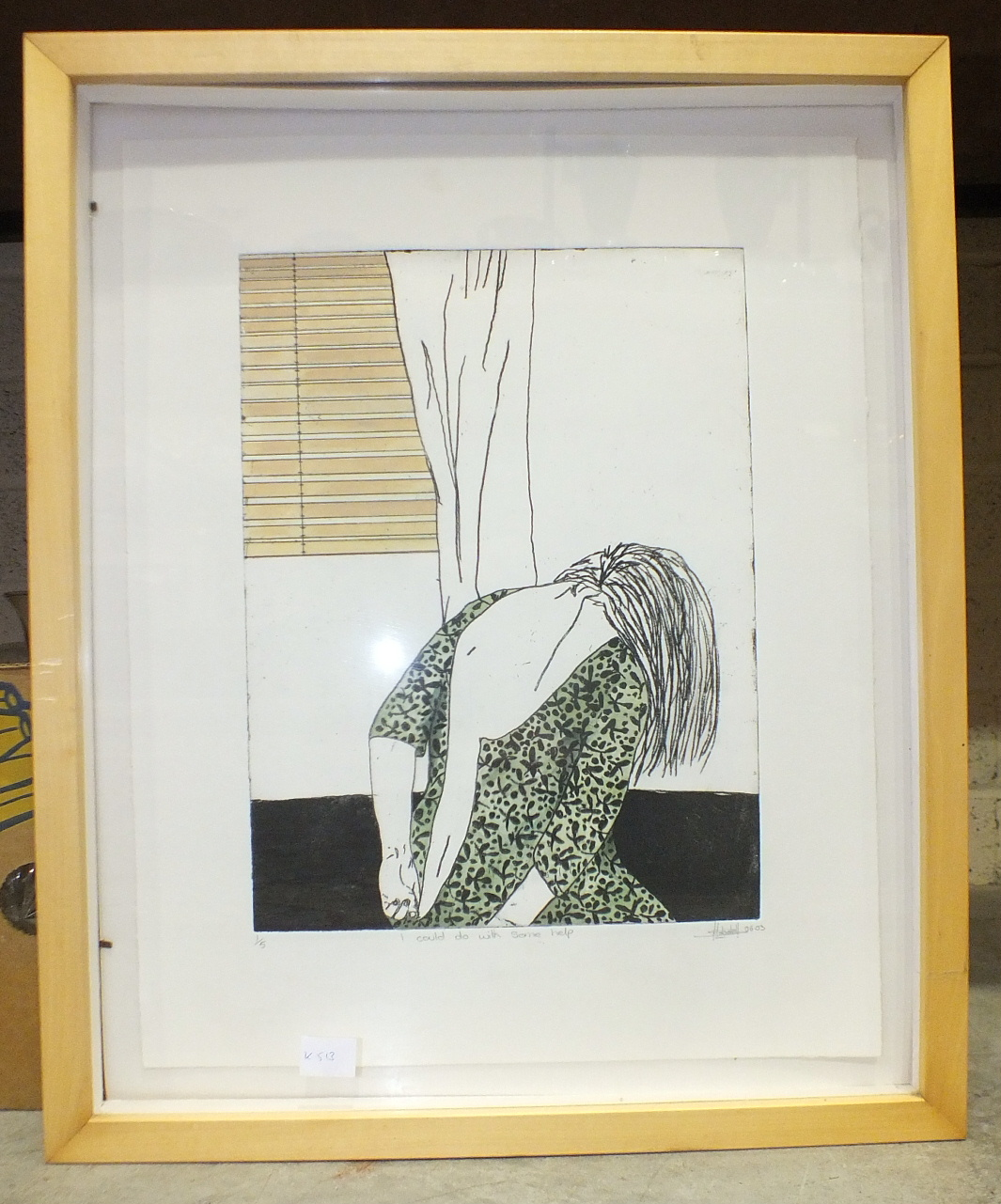 Hobdell, contemporary, 'I Could Do With Some Help', coloured screen print, numbered 1/5, signed