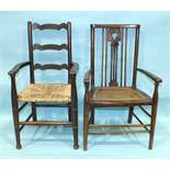 "A child's stained beech ladder-back armchair with raffia seat, labelled ""B Maggs & Co, Clifton,"