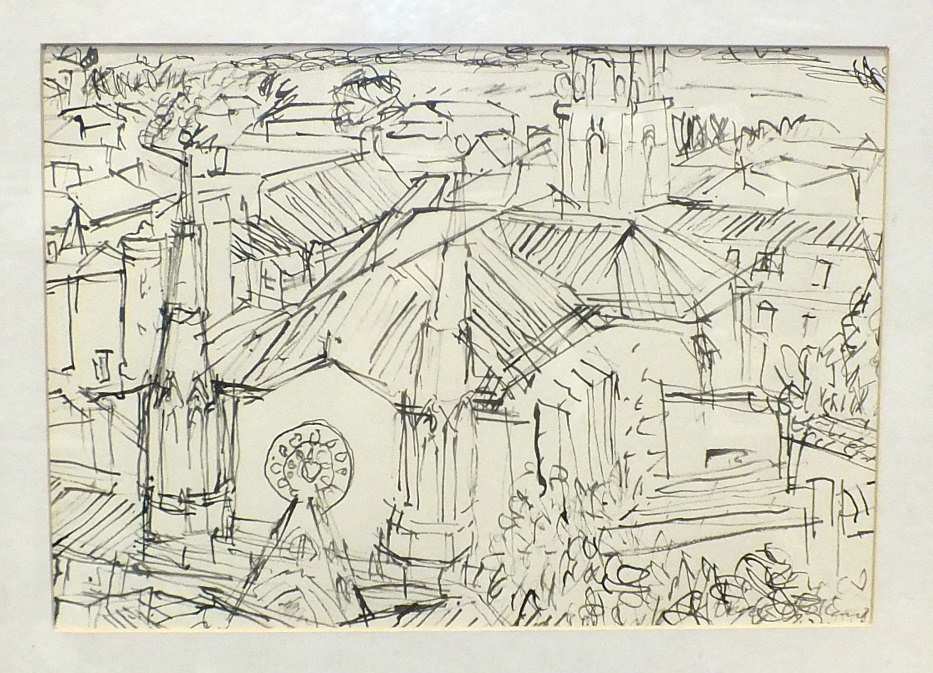 Lot 202 - Derek Holland (20th century), 'Church at Sommières in the Midi', a signed pen and ink drawing, etc.