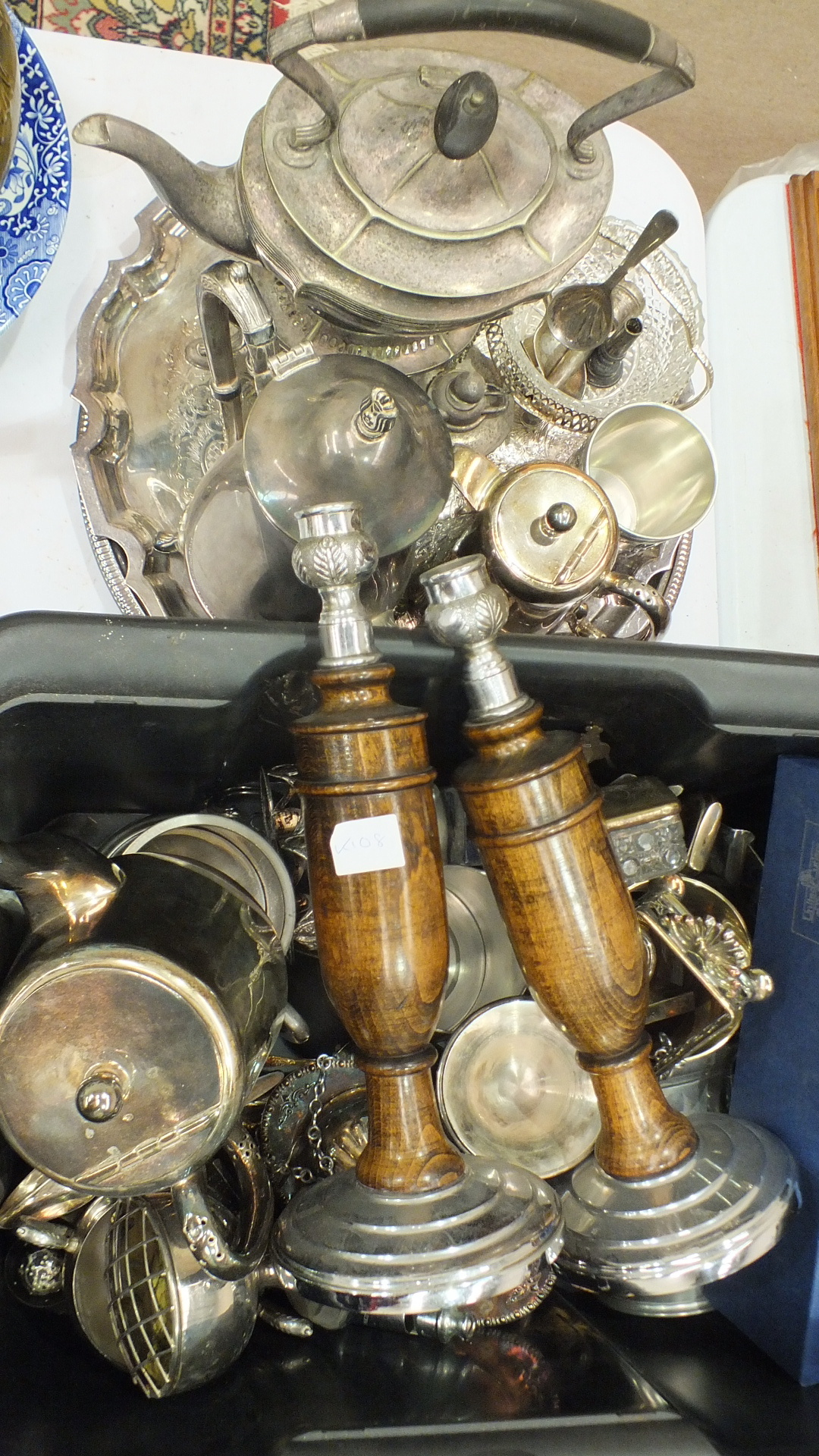 Lot 149 - A plated spirit kettle on stand, various hotel plate and other items.