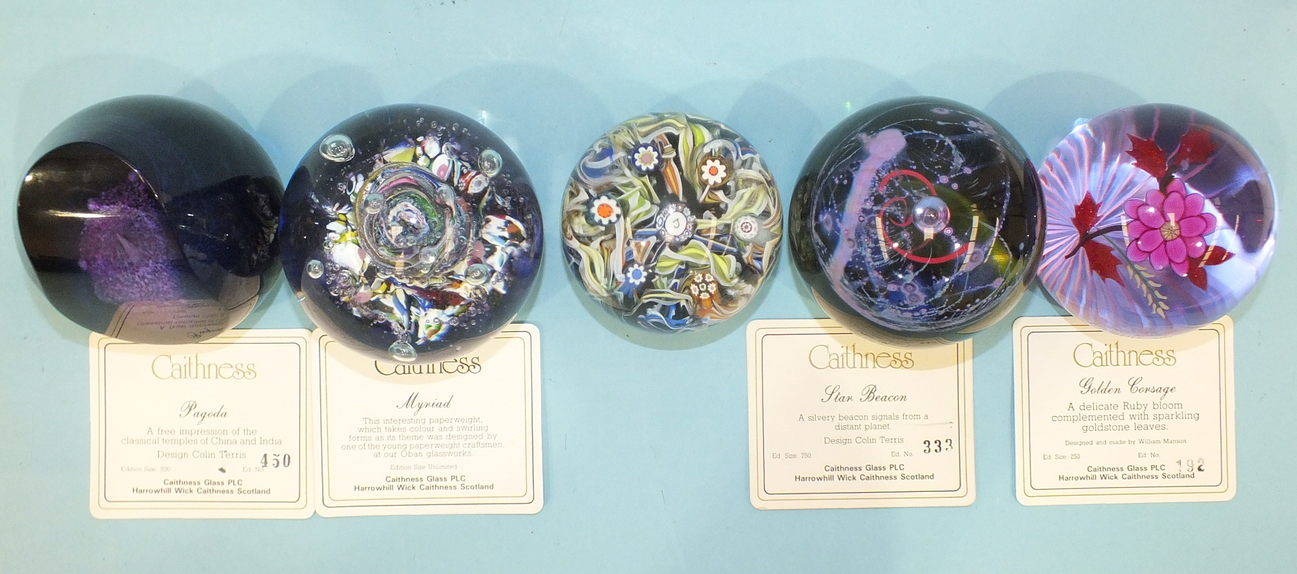 Lot 249 - Three Caithness limited-edition glass paperweights 'Star Beacon' 333/750, 'Pagoda' 450/500 and '