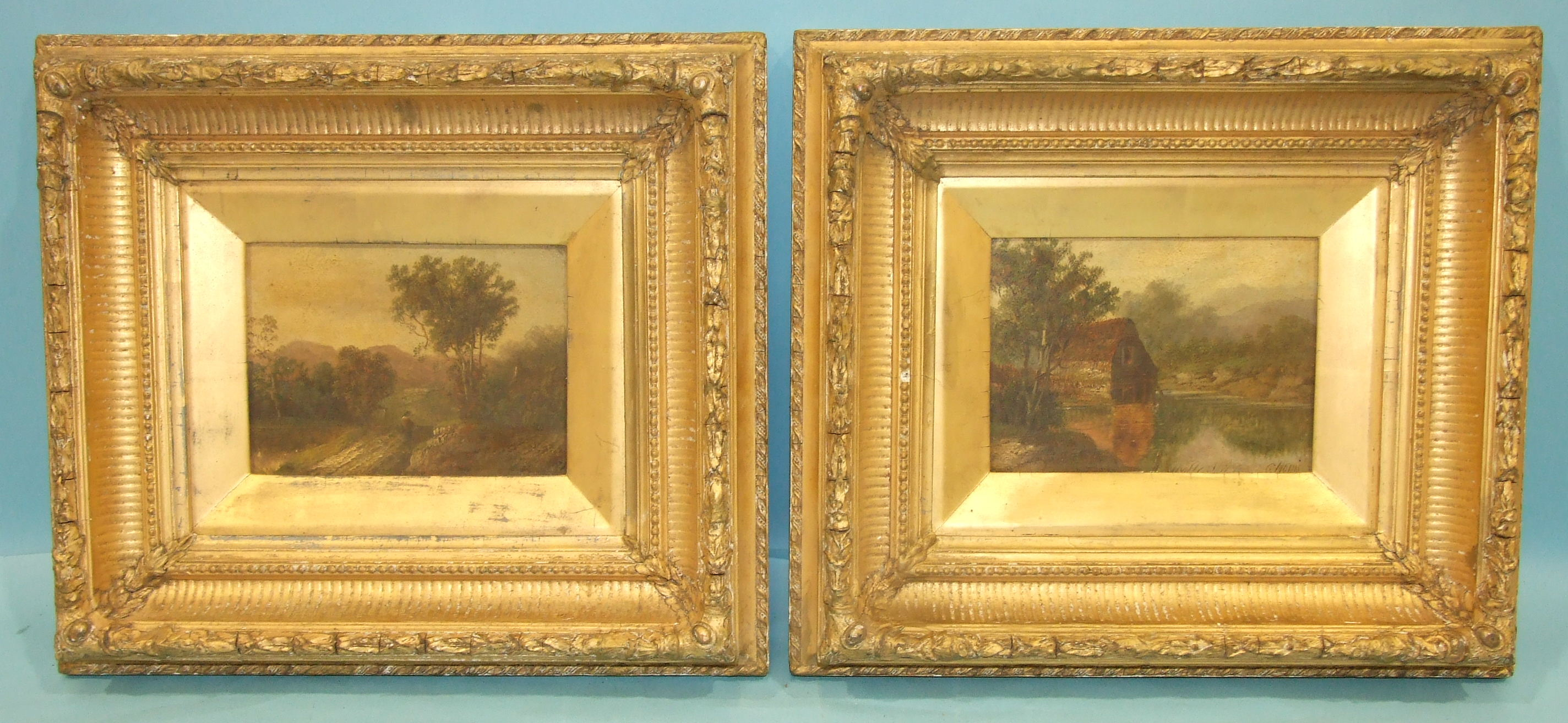 Lot 233 - G Noris?, 'Water Mill', oil on board, 14 x 19cm and a companion, a pair, in gilt gesso frames and
