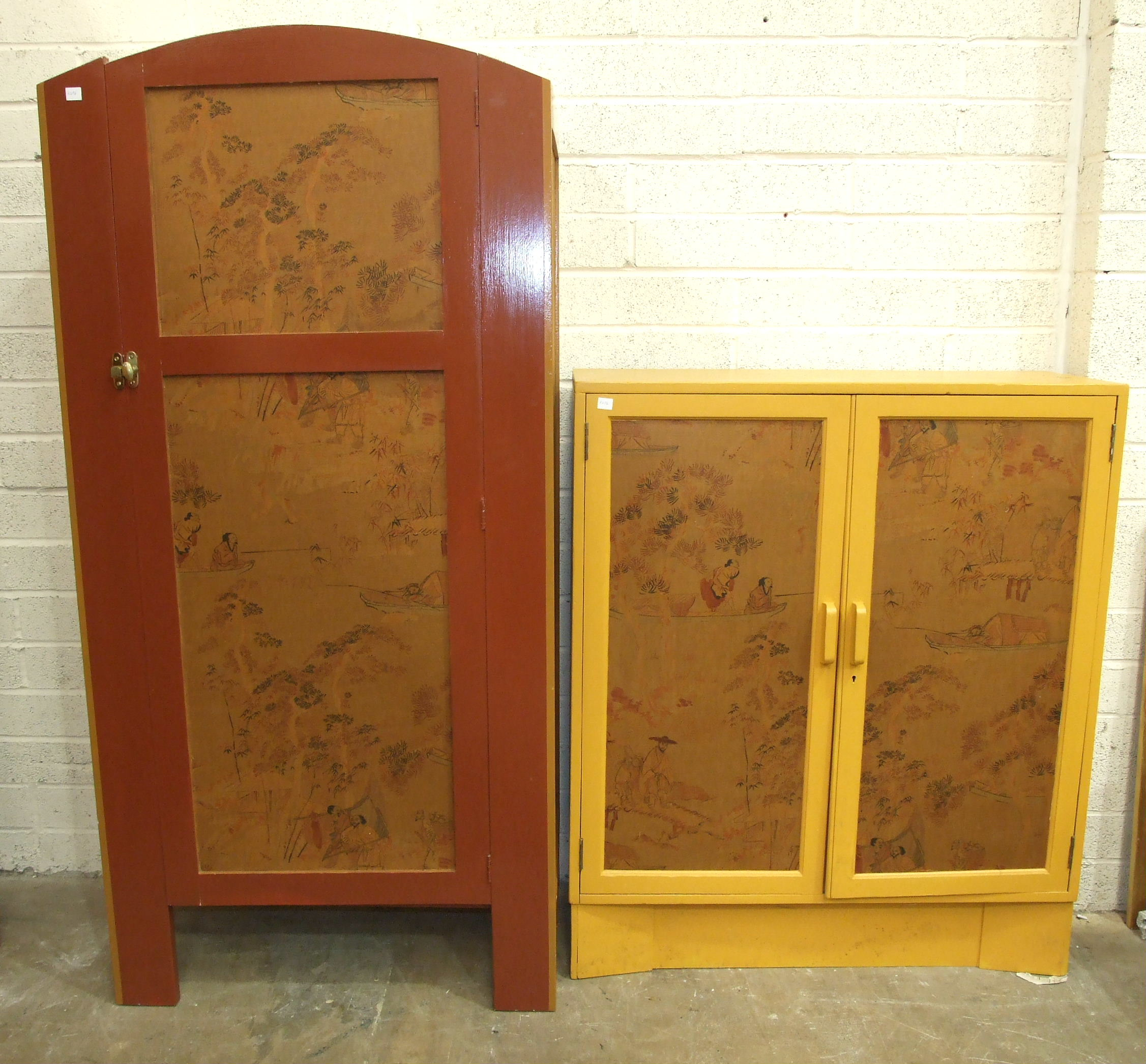 A painted wood cupboard with chinoiserie fabric-covered panels, 85 x 173cm and a similarly-decorated