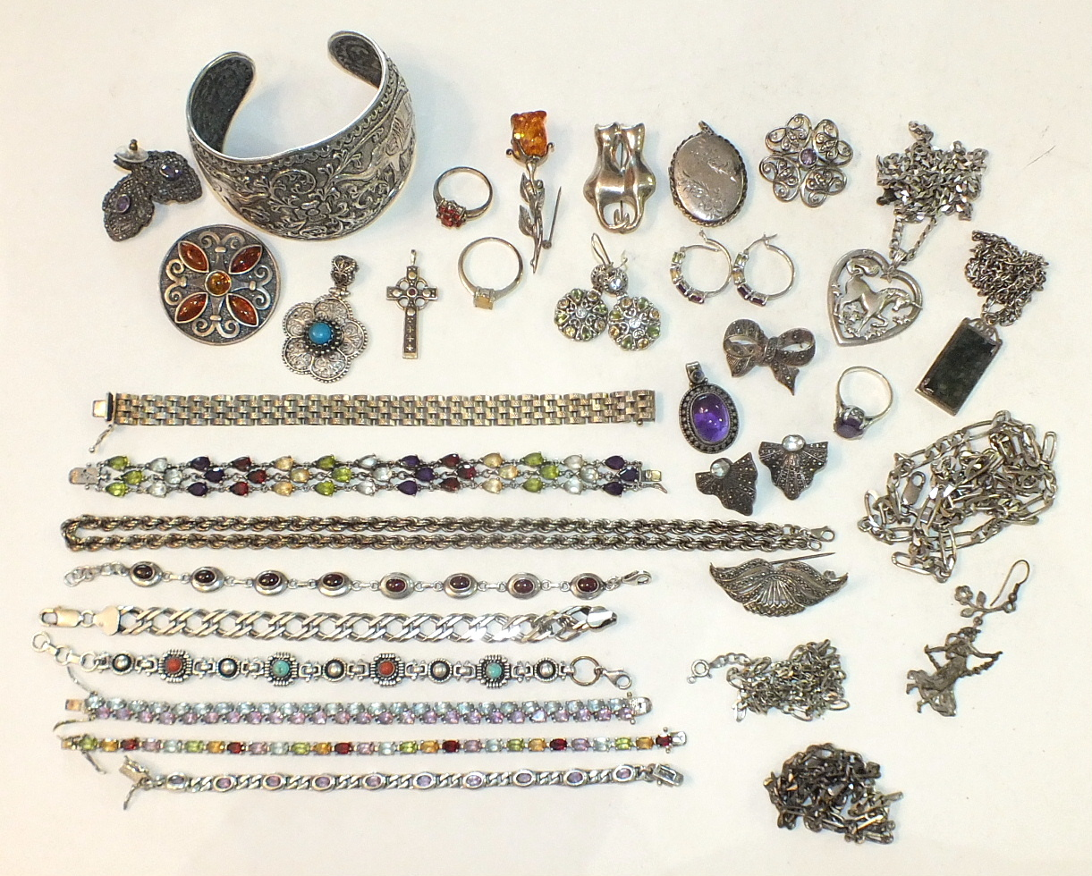 An Indian-style silver cuff bangle and various other silver jewellery, some gem-set, ___15½oz.