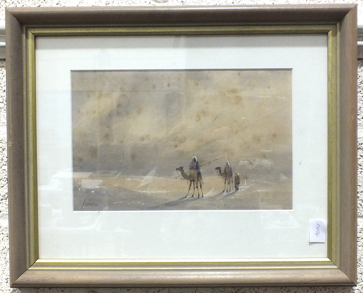 Lot 68 - Indistinctly-signed, 'Figures and camels in a desert landscape', watercolour, 17 x 26cm.