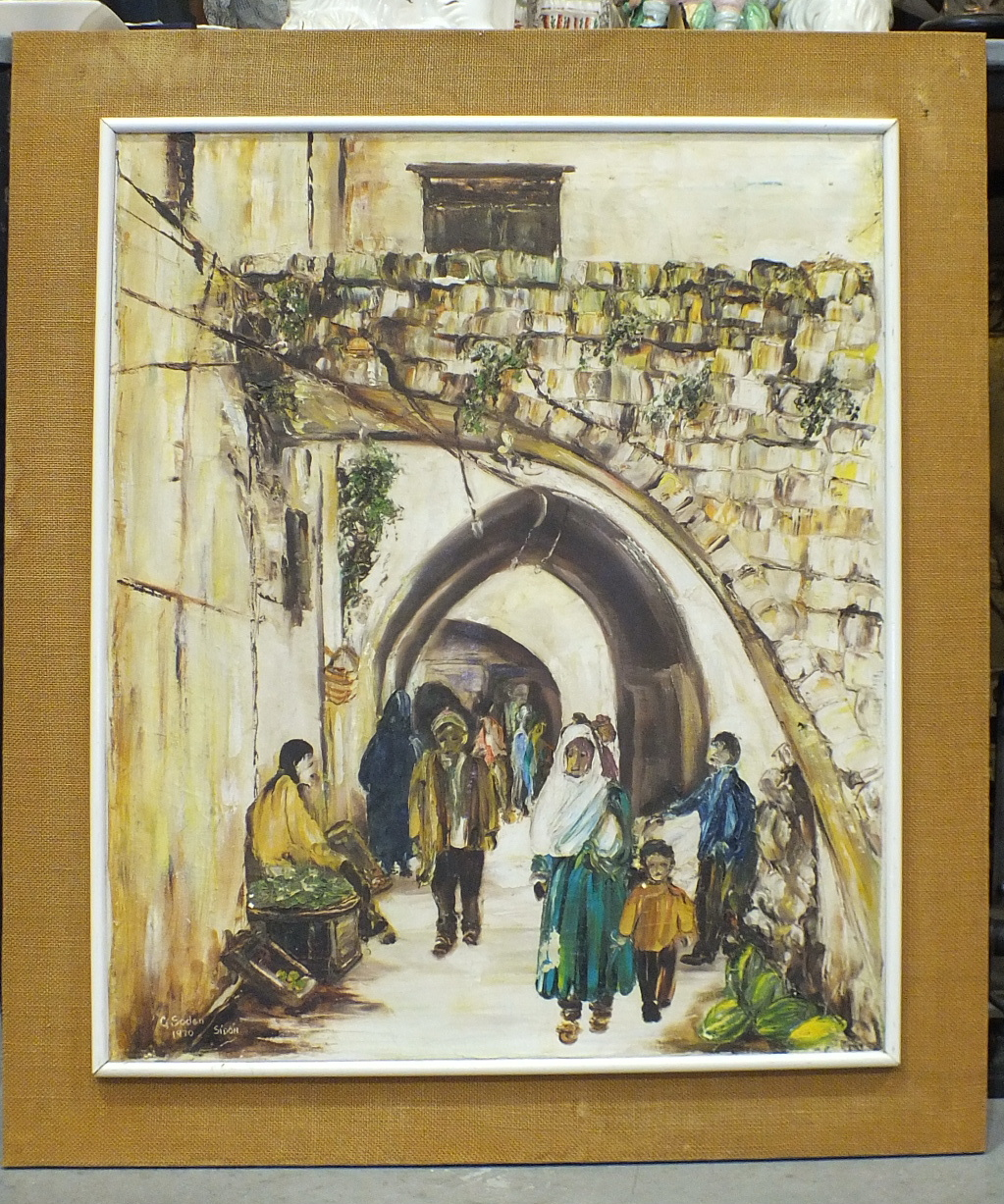 Lot 59 - G Soden, 'Sidon (Lebanon), Busy street scene', signed oil on canvas, dated '70, 52 x 67cm and