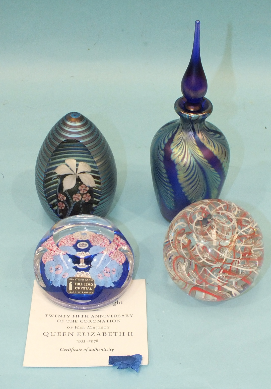 Lot 263 - A Whitefriars limited-edition millefiore paperweight '25th Anniversary of The Coronation of Her