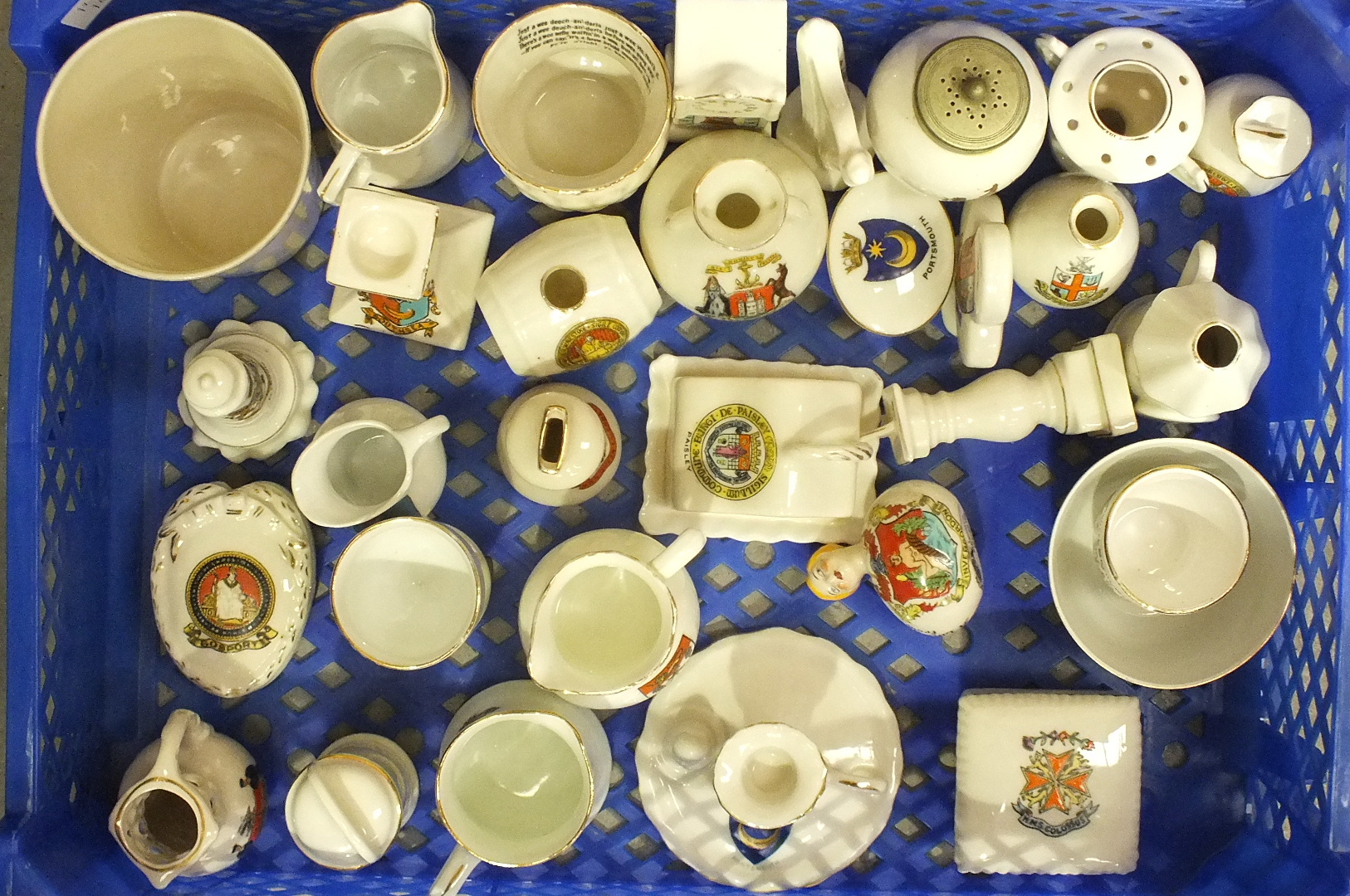 Lot 183 - Approximately thirty pieces of crested ware, including Arcadian 'Little Bird' with flapper, (