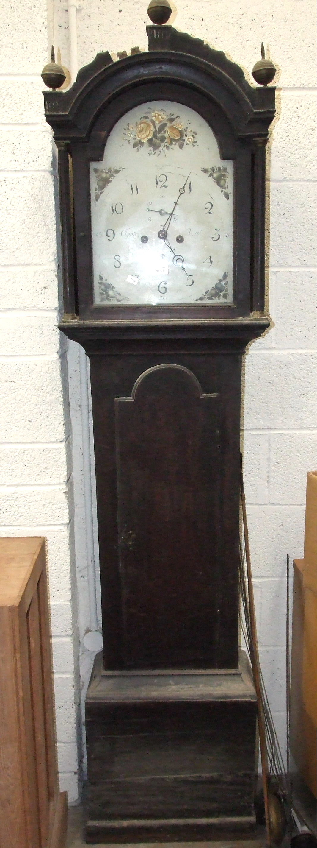 A 19th century mahogany long case clock with painted arched dial and bell-striking twin-train - Image 2 of 3