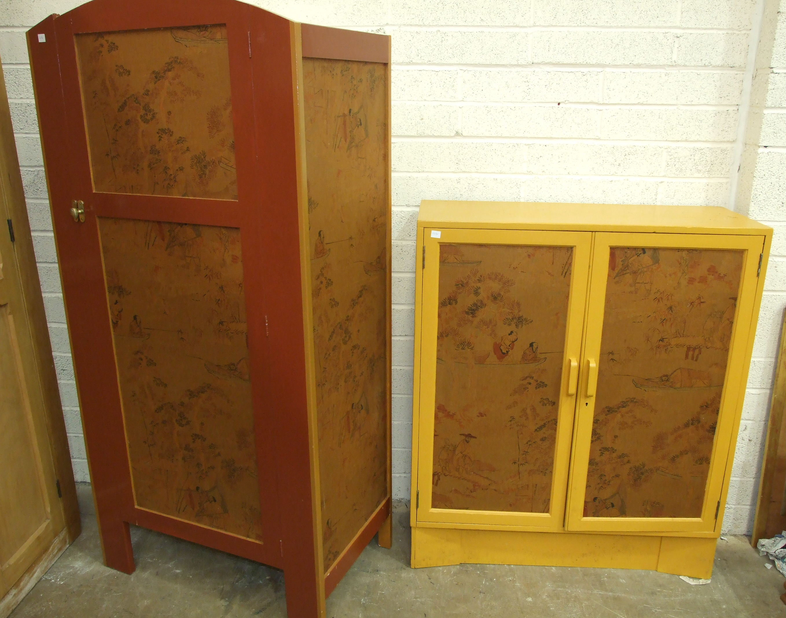 A painted wood cupboard with chinoiserie fabric-covered panels, 85 x 173cm and a similarly-decorated - Image 2 of 2