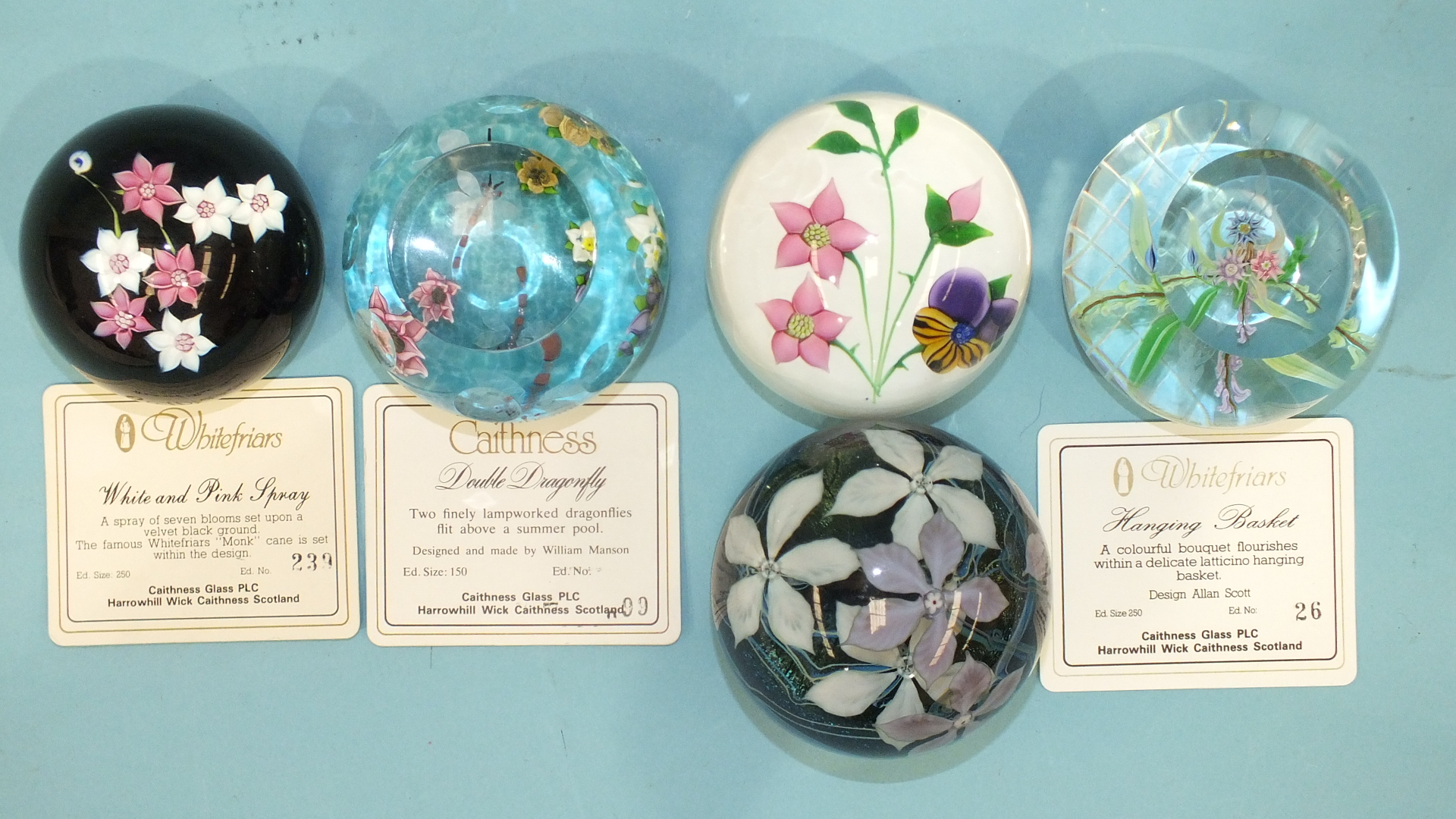 Lot 262 - An Okra 87 'Nekton III' limited-edition glass paperweight No.15/49, no certificate, three